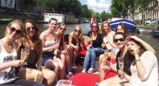 Girls on our party boat having fun